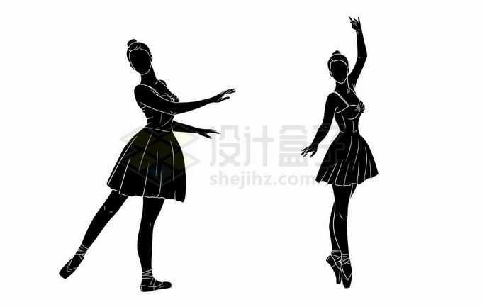2个跳芭蕾舞的女孩剪影2669815矢量图片免抠素材免费下载