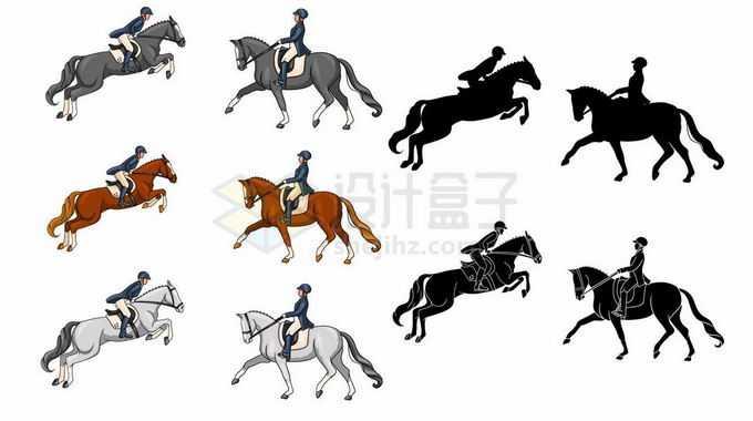 英姿飒爽的骑手正在骑马马术表演比赛剪影5119724矢量图片免抠素材免费下载