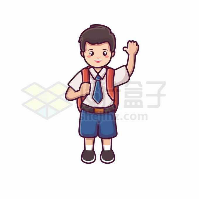 开学返校季背书包的卡通学生挥手打招呼4997216矢量图片免抠素材免费下载