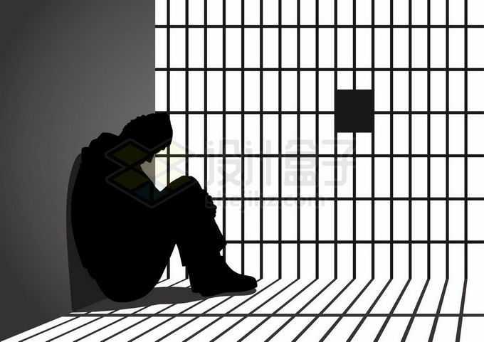 坐在地上低着头懊悔不已的犯罪分子在牢房里剪影9098536矢量图片免抠素材免费下载