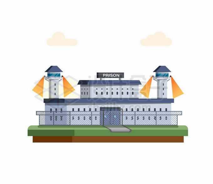 卡通风格戒备森严的监狱9165529矢量图片免抠素材免费下载
