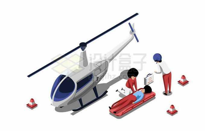 2.5D风格救援直升机和正在施救的医护人员2840111矢量图片免抠素材免费下载