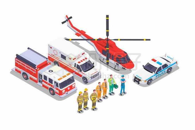 2.5D风格救援直升机救护车消防车警车和消防员等救援人员9568900矢量图片免抠素材免费下载
