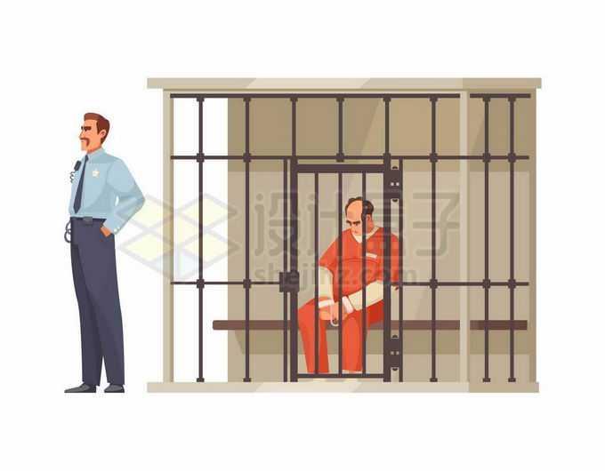 身穿囚服低头坐在监狱里的犯罪分子和外面威严的狱警8894146矢量图片免抠素材免费下载