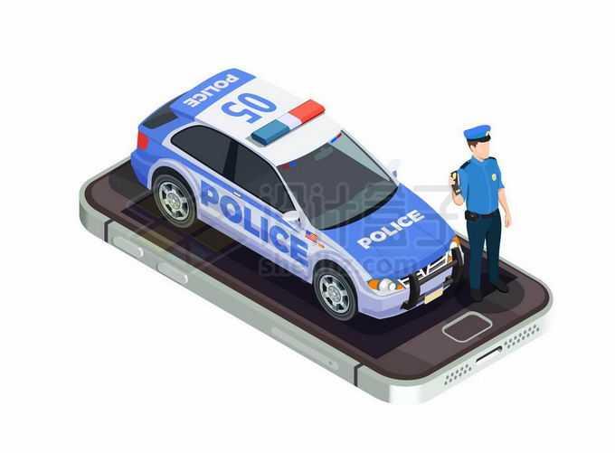 2.5D风格手机上的警车和警察1369638矢量图片免抠素材免费下载