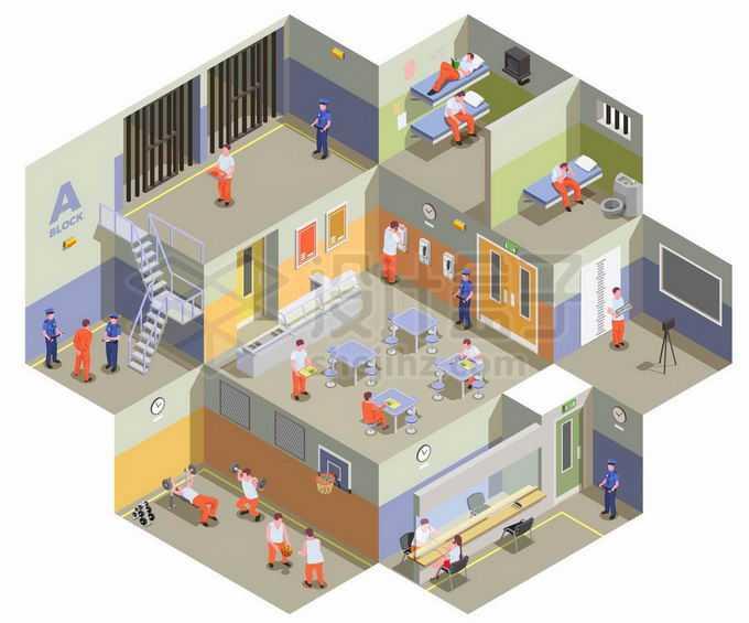 2.5D风格监狱的不同区域3209473矢量图片免抠素材免费下载