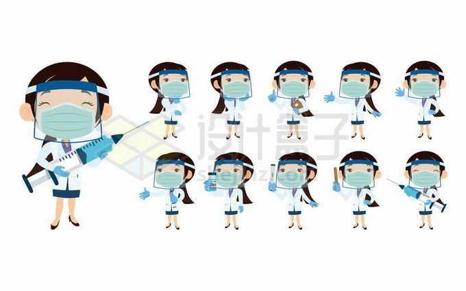 戴口罩的卡通护士女医生7581530矢量图片免抠素材免费下载
