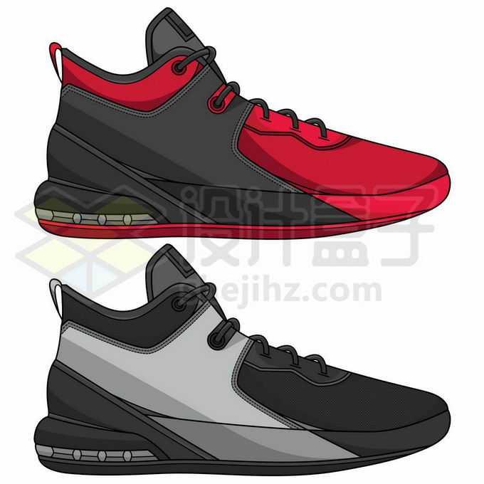 红黑色和黑灰色运动鞋球鞋9916294矢量图片免抠素材免费下载