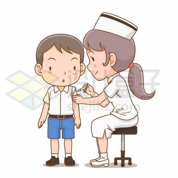 卡通女医生护士正在给小男孩打针注射疫苗4345144矢量图片免抠素材免费下载