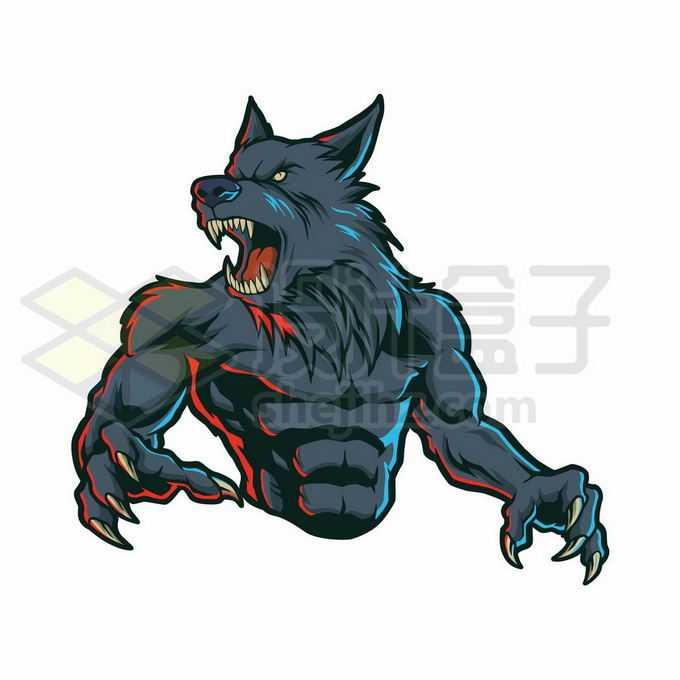 凶狠的狼人长大了嘴巴伸出利爪卡通游戏人物3435976矢量图片免抠素材免费下载