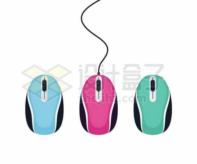 蓝色粉色绿色有线无线鼠标6608918矢量图片免抠素材免费下载