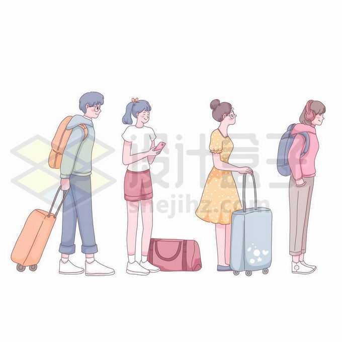 拖着行李排队出去旅行的年轻人手绘插画2947464矢量图片免抠素材免费下载
