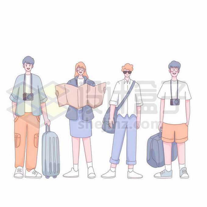 4个卡通年轻人拖着行李拿着地图准备出去旅游手绘插画9841910矢量图片免抠素材免费下载
