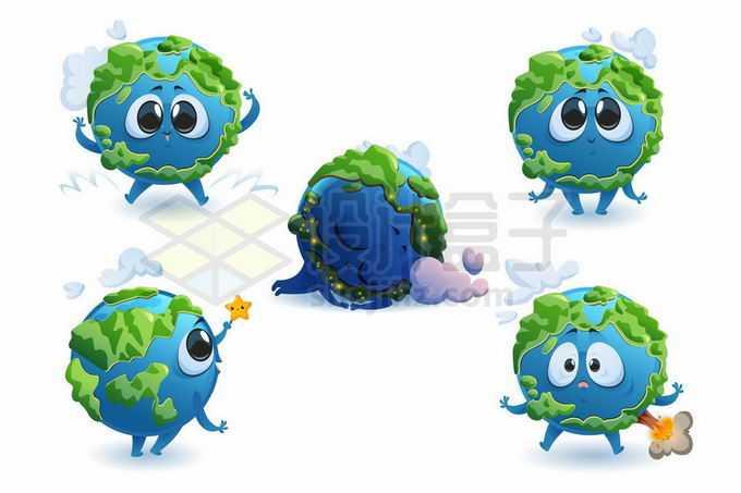 5款可爱的大眼睛卡通地球5375602矢量图片免抠素材免费下载