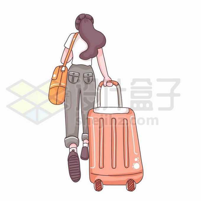卡通女孩拖着行李箱快速奔跑准备出去旅游手绘插画2803833矢量图片免抠素材免费下载