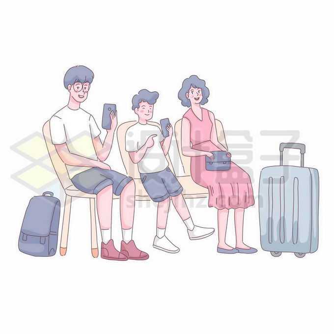 一家三口在机场车站候机大厅休息准备出去旅游手绘插画1158361矢量图片免抠素材免费下载