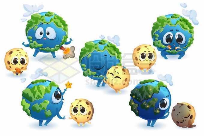 5款可爱的大眼睛卡通地球和月球4615678矢量图片免抠素材免费下载