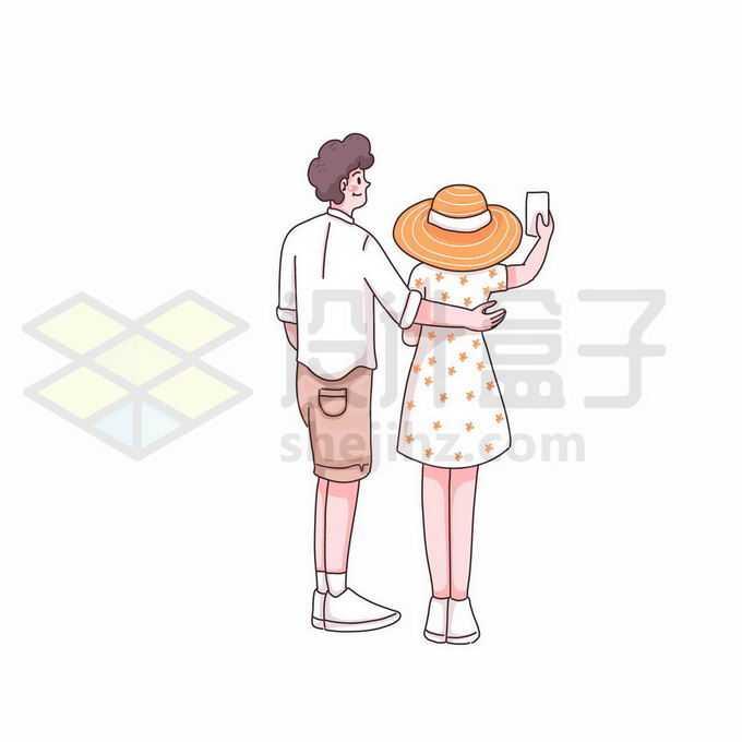 卡通情侣勾肩搭背女孩正在拍照手绘插画5678384矢量图片免抠素材免费下载
