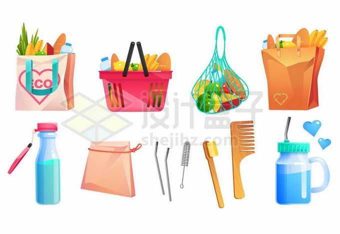 各种购物袋网袋和牛奶瓶纸袋子牙刷梳子等4662453矢量图片免抠素材免费下载