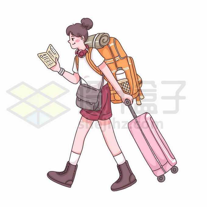 卡通女孩背包客拖着行李准备出去旅游手绘插画1627852矢量图片免抠素材免费下载