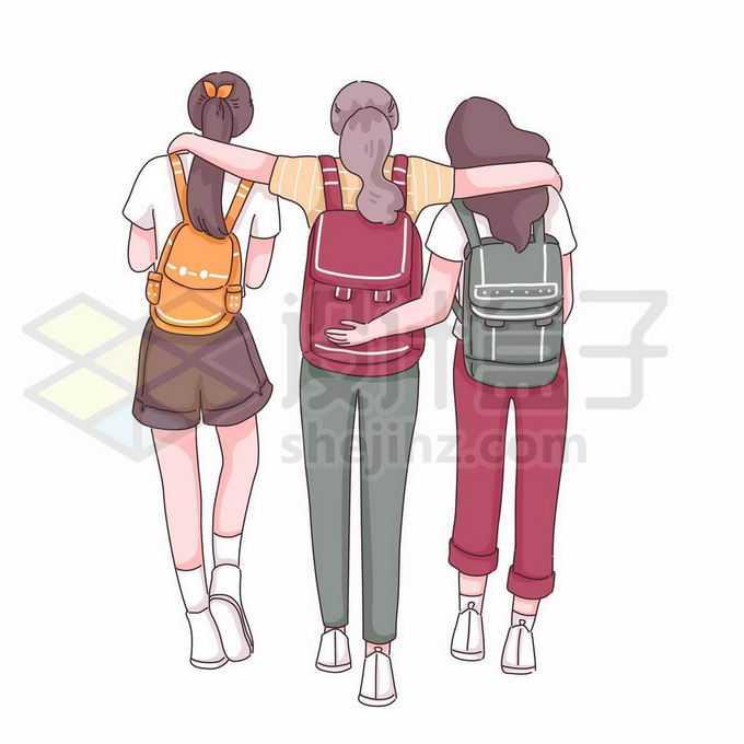 三个勾肩搭背走路的闺蜜好朋友背影手绘插画8798046矢量图片免抠素材免费下载