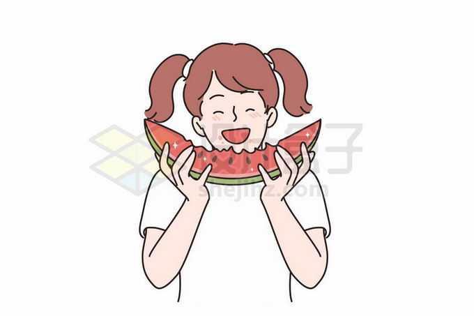 卡通女孩吃西瓜手绘插画6536111矢量图片免抠素材免费下载