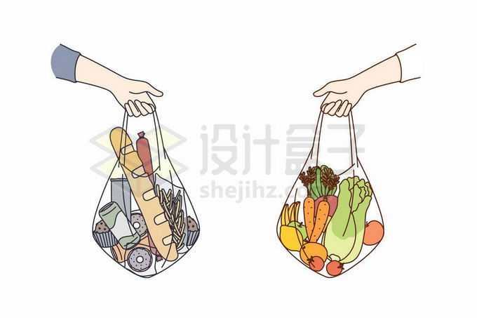 拎着的网袋中装满了食物拒绝塑料袋8687677矢量图片免抠素材免费下载