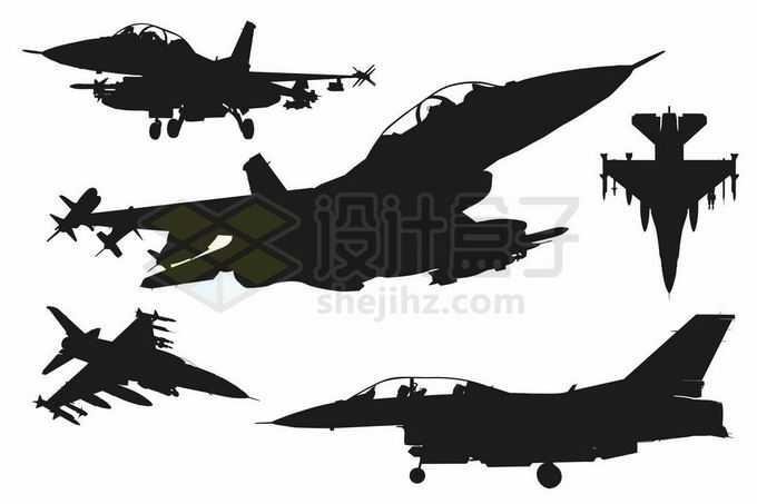 各个不同角度的F16战斗机剪影9662265矢量图片免抠素材免费下载
