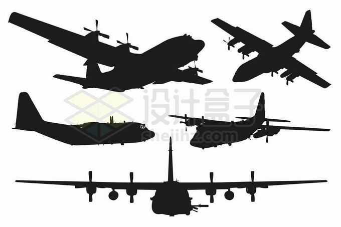 各种不同角度的C130运输机剪影4670726矢量图片免抠素材免费下载