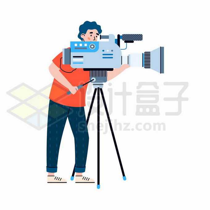 卡通摄影师正在操作摄影机7763072矢量图片免抠素材免费下载