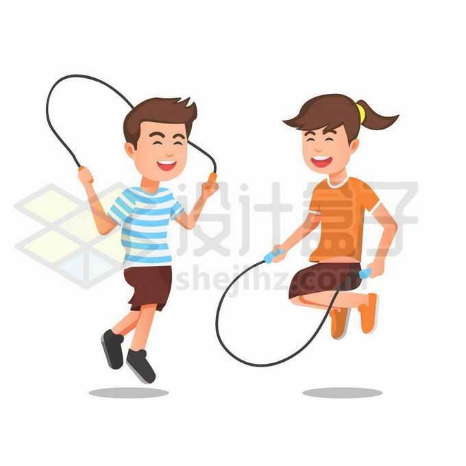 2个正在跳绳的卡通男孩女孩6626433矢量图片免抠素材免费下载