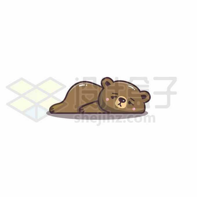 慵懒的卡通小熊趴在地上表情包2672396矢量图片免抠素材免费下载