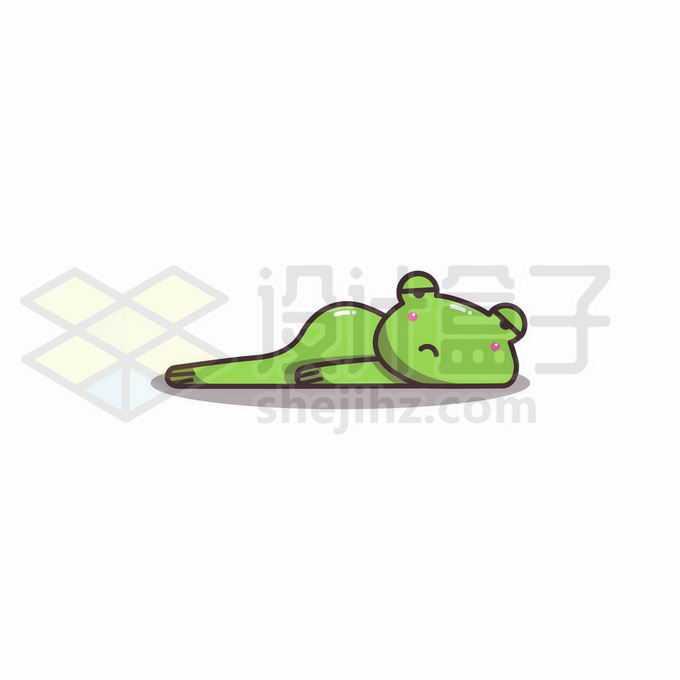 慵懒的卡通青蛙趴在地上表情包6909218矢量图片免抠素材免费下载