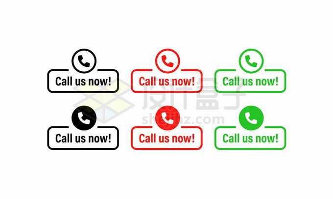 6种颜色的电话按钮联系我们7531348矢量图片免抠素材免费下载