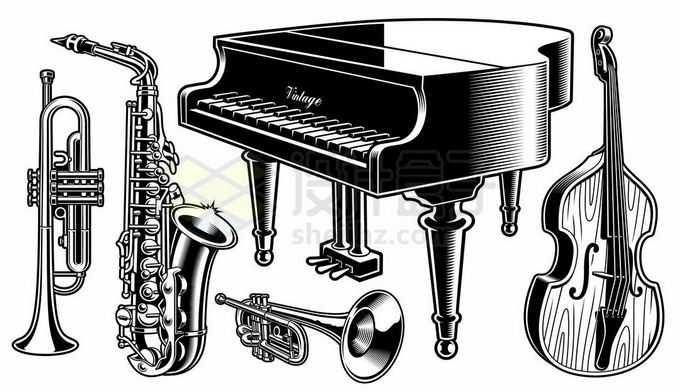 各种大号中号小号钢琴大提琴音乐乐器黑白插画2344471矢量图片免抠素材免费下载