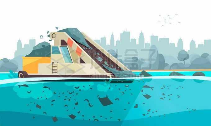 河道垃圾清理船清运船正在清理河流污染保持河流健康2896449矢量图片免抠素材免费下载