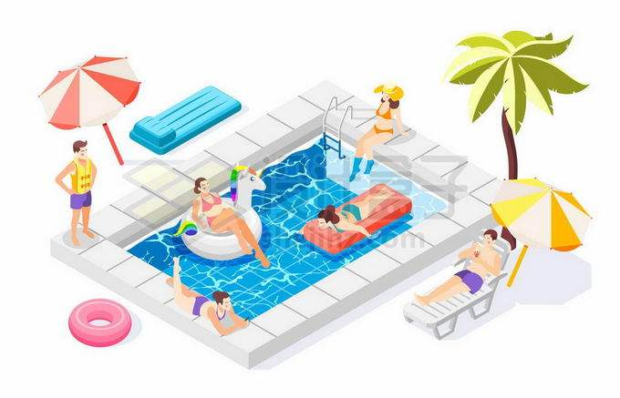 2.5D风格夏天游泳池旁边玩耍的年轻人2966208矢量图片免抠素材免费下载
