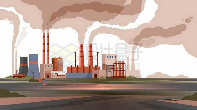 冒着滚滚浓烟黑烟的工厂空气污染严重2765416矢量图片免抠素材免费下载