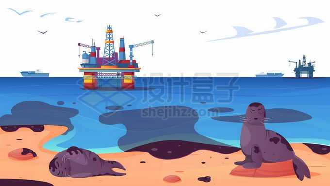海上钻井平台发生石油泄漏事故造成海洋污染9853377矢量图片免抠素材免费下载