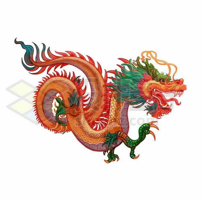 一只彩色的中国四爪金龙4677515矢量图片免抠素材免费下载