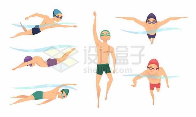 正在游泳的运动员自由泳蛙泳3577570矢量图片免抠素材免费下载
