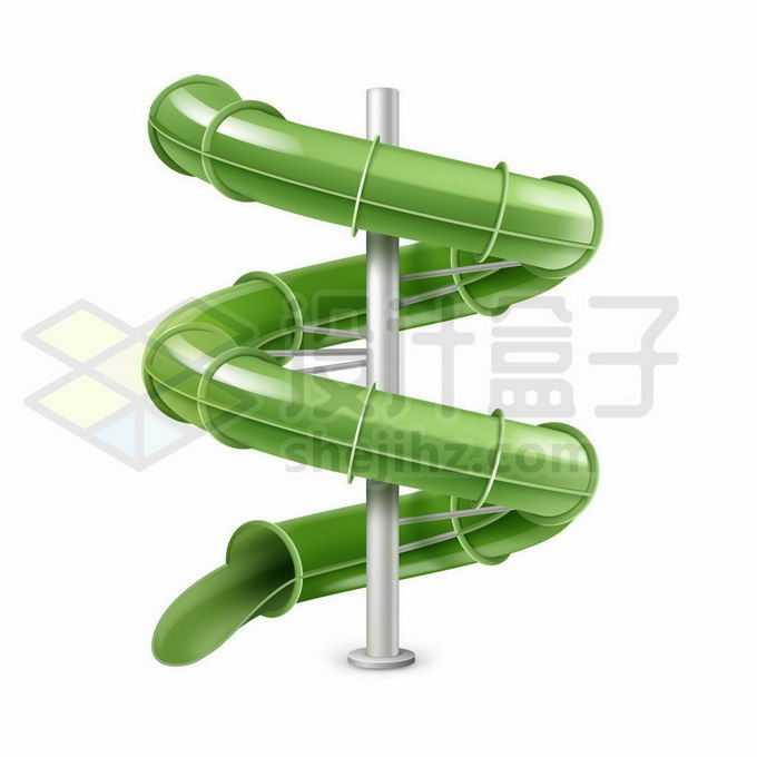 绿色的螺旋滑梯儿童游乐设施7439894矢量图片免抠素材免费下载