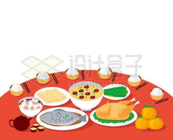 圆桌上摆满美食的团圆饭年夜饭8253133矢量图片免抠素材免费下载
