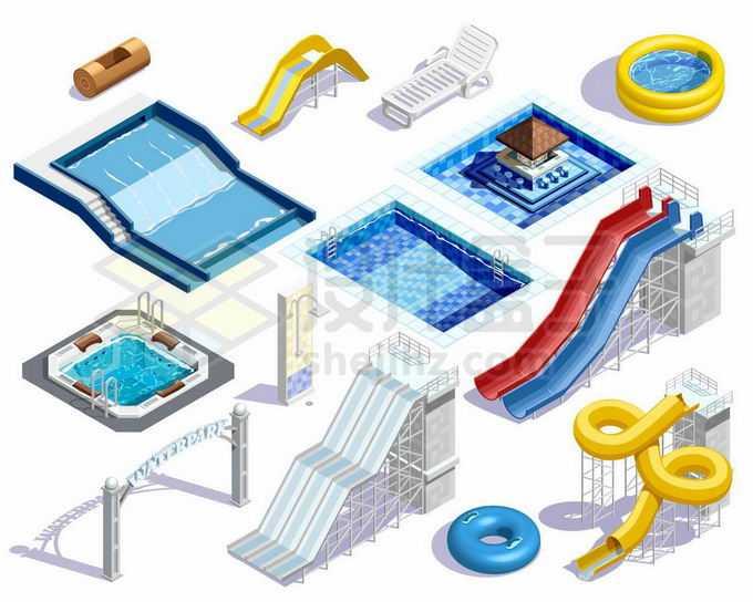 2.5D风格奥运会游泳池和水上滑梯项目3357449矢量图片免抠素材免费下载