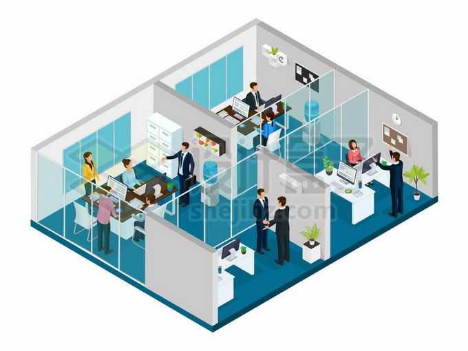 2.5D风格玻璃隔断的办公室4255647矢量图片免抠素材免费下载