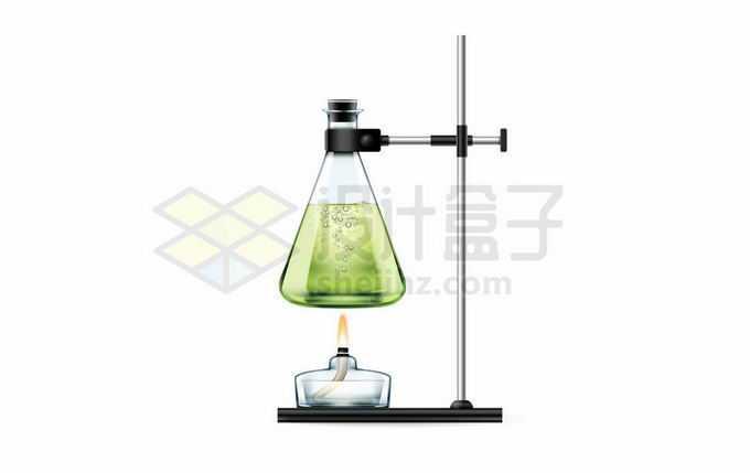 试验台上的酒精灯正在加热锥形瓶化学实验仪器9170685矢量图片免抠素材免费下载