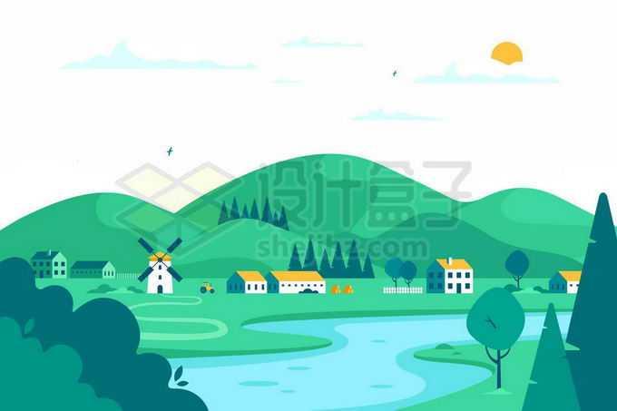 青山绿水和乡村小河扁平化风景插画8843535矢量图片免抠素材免费下载
