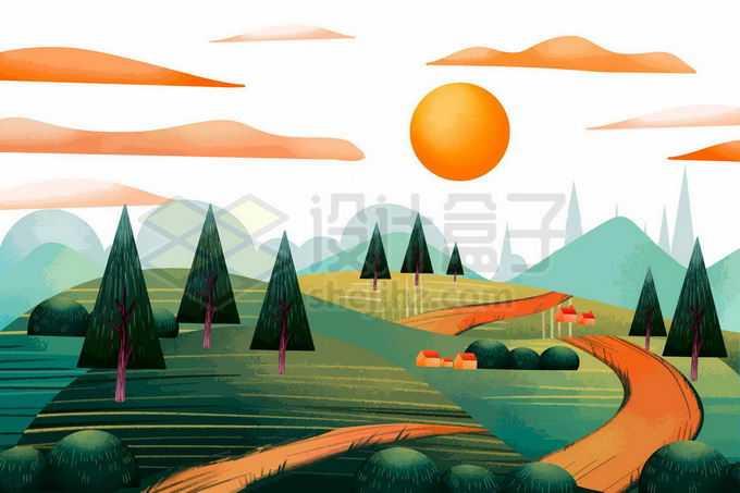 红日下的小山村青山风景插画5659857矢量图片免抠素材免费下载