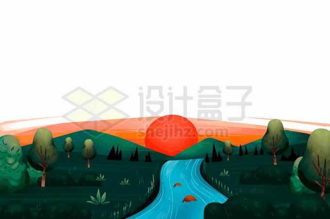 夕阳下的青山绿水乡村风景插画7032613矢量图片免抠素材免费下载