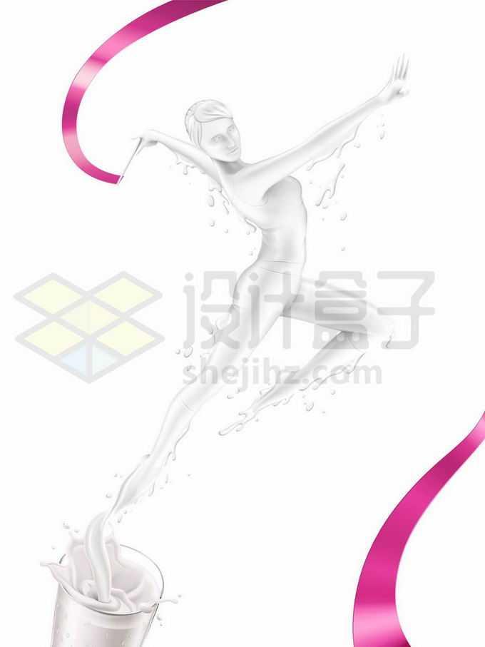 抽象牛奶组成的液态跳舞的美女2850733矢量图片免抠素材免费下载